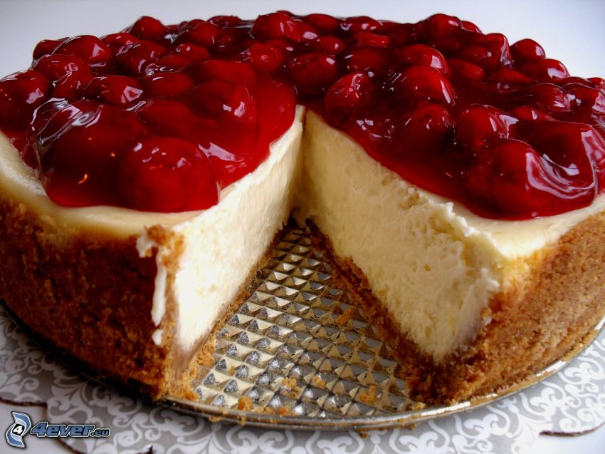cheesecake, cerezas