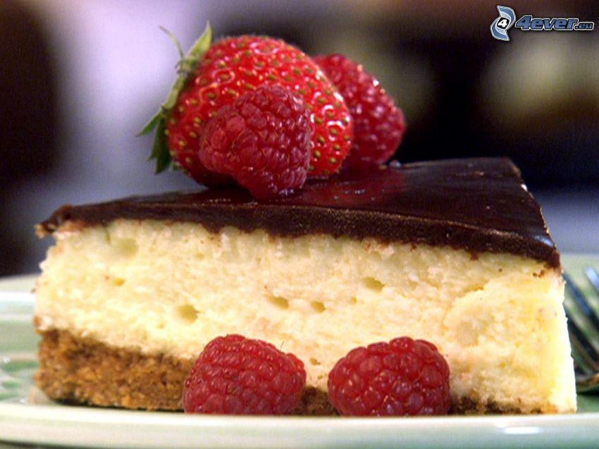 cheesecake, frambuesas, fresa