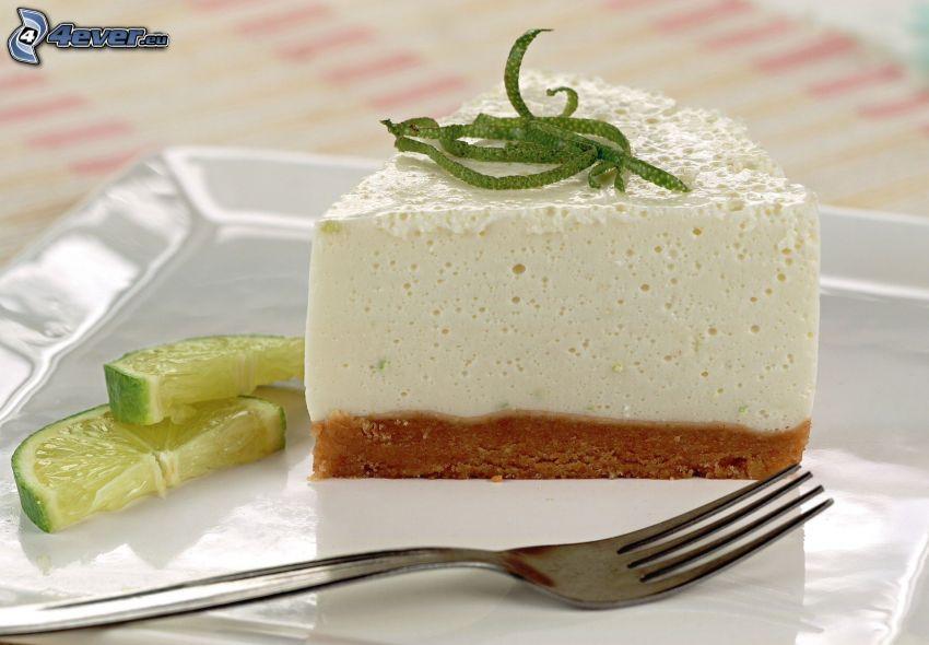 cheesecake, lima, tenedor