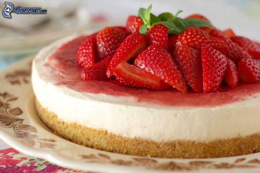 cheesecake, pastel con fresas