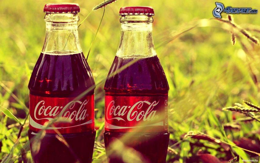 Coca Cola, botellas, hierba