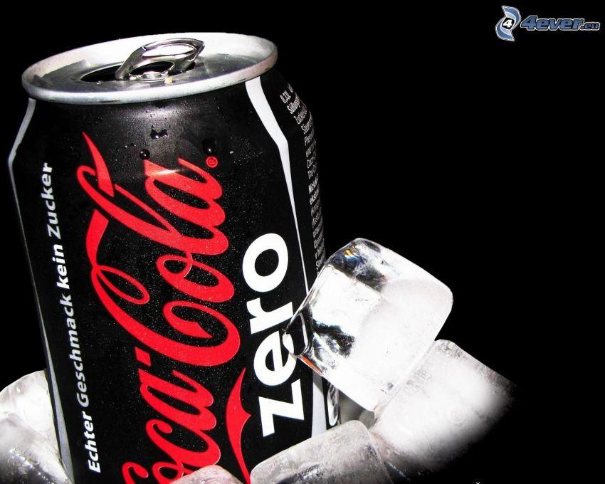 Coca Cola Zero, cubitos de hielo, lata