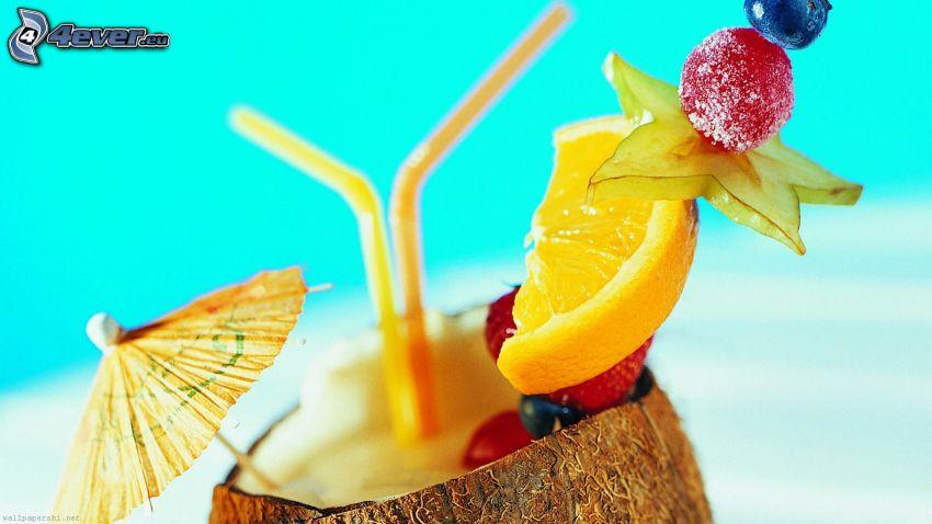 cóctel, fruta, pajas
