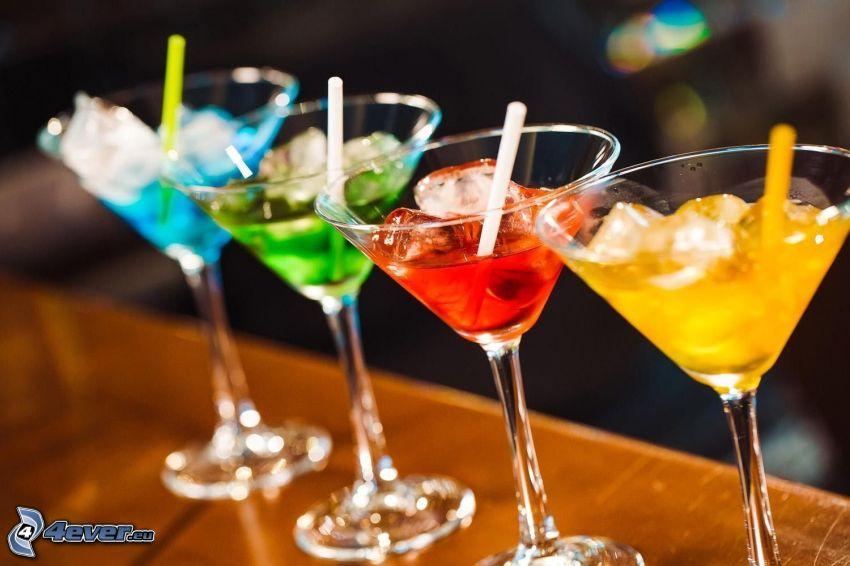 cóctel, hielo, colores