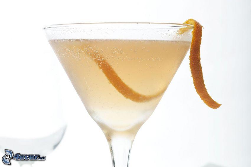 cóctel, naranja, piel