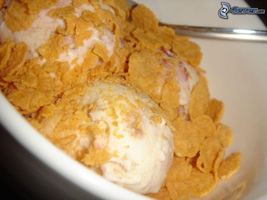 copos de maíz, helado, desayuno