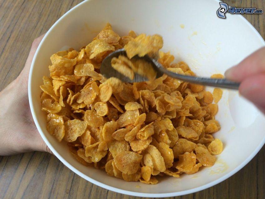 copos de maíz, tazón, cuchara, desayuno