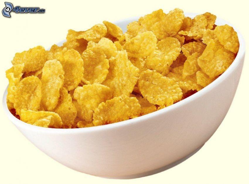 copos de maíz, tazón, desayuno