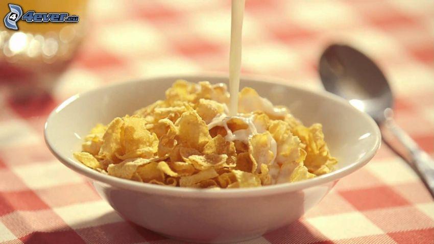 copos de maíz, tazón, leche, cuchara, desayuno