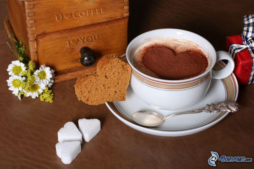 corazón en el café, corazones, azúcar
