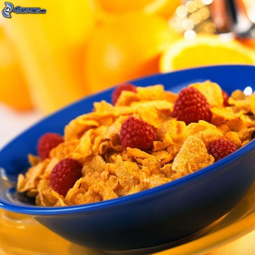 corn flakes, frambuesas, desayuno