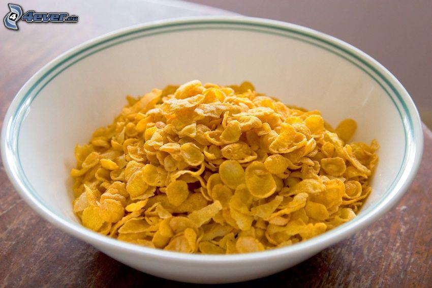 corn flakes, tazón, desayuno