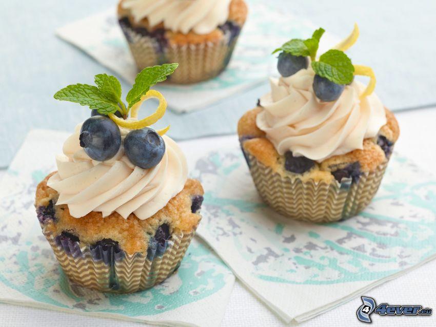 cupcakes, arándanos
