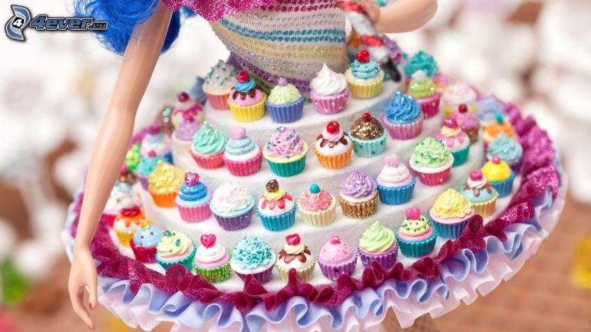 cupcakes, Barbie, vestido