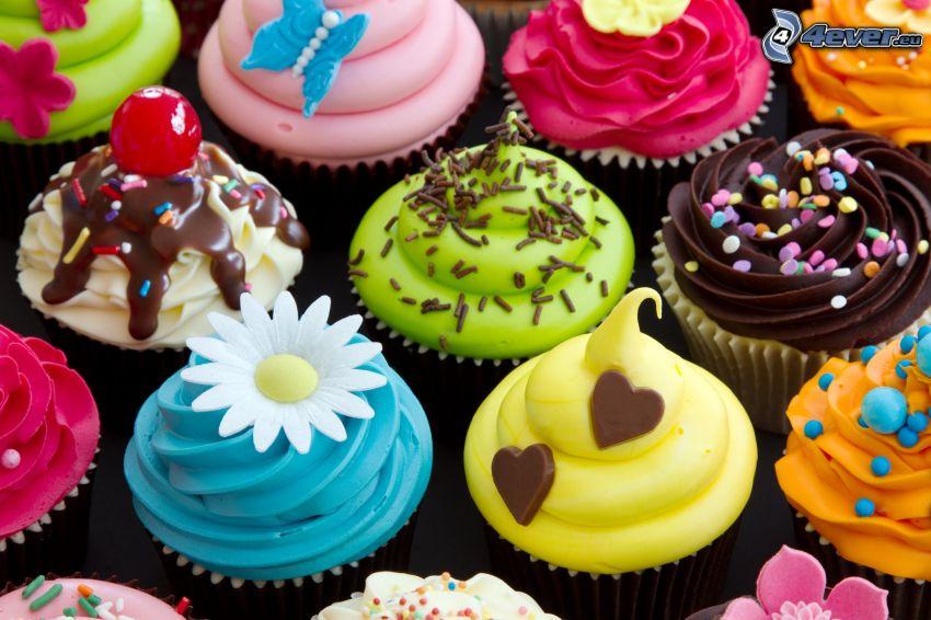 cupcakes, flores, corazones, mariposa
