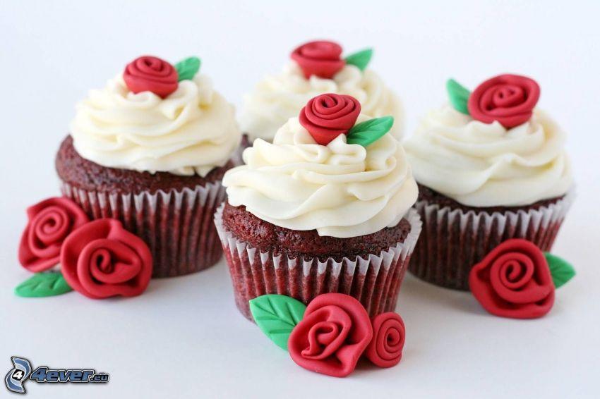 cupcakes, rosas