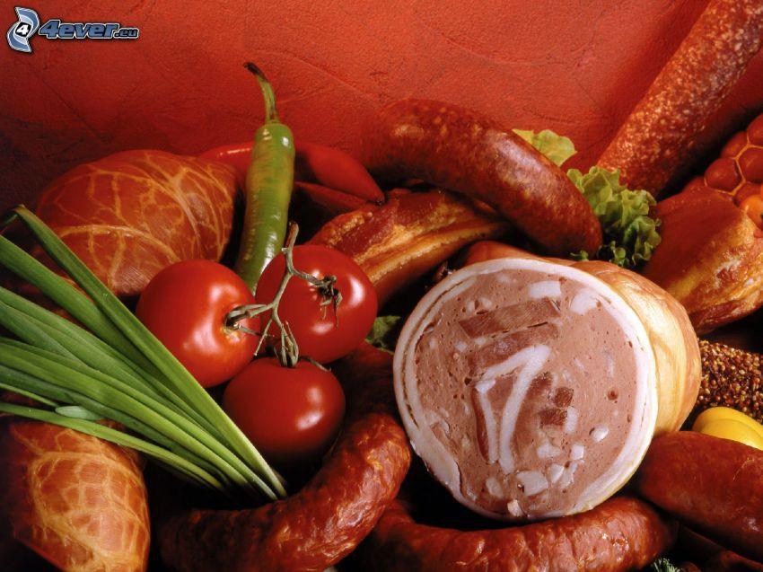 delicias de carne, jamón, salchicha