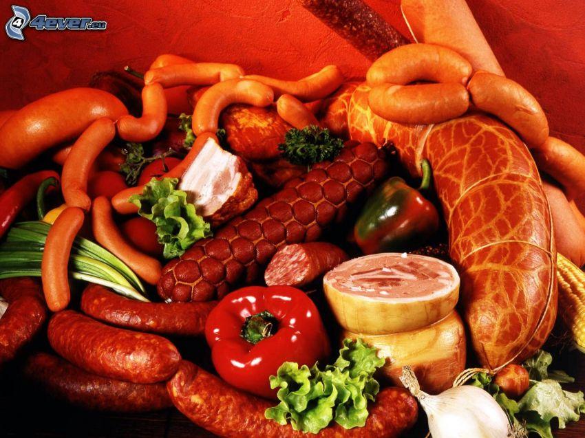 delicias de carne, salchichas, jamón, salchicha