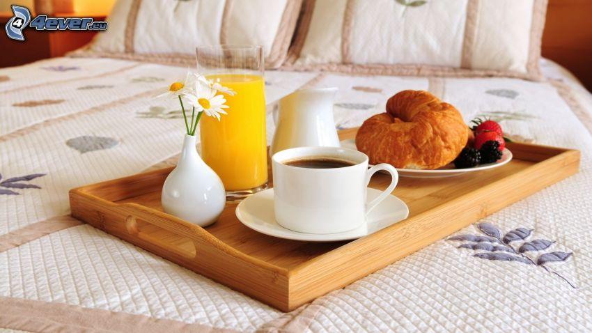 desayuno, café, Croissants
