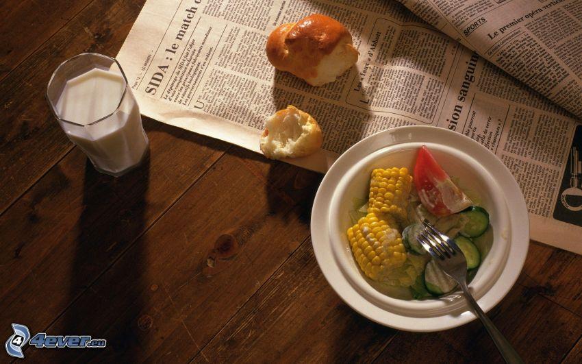 desayuno, leche, pan, verduras, periódico