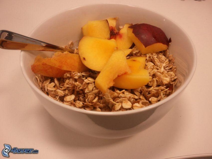 desayuno, muesli, melocotones