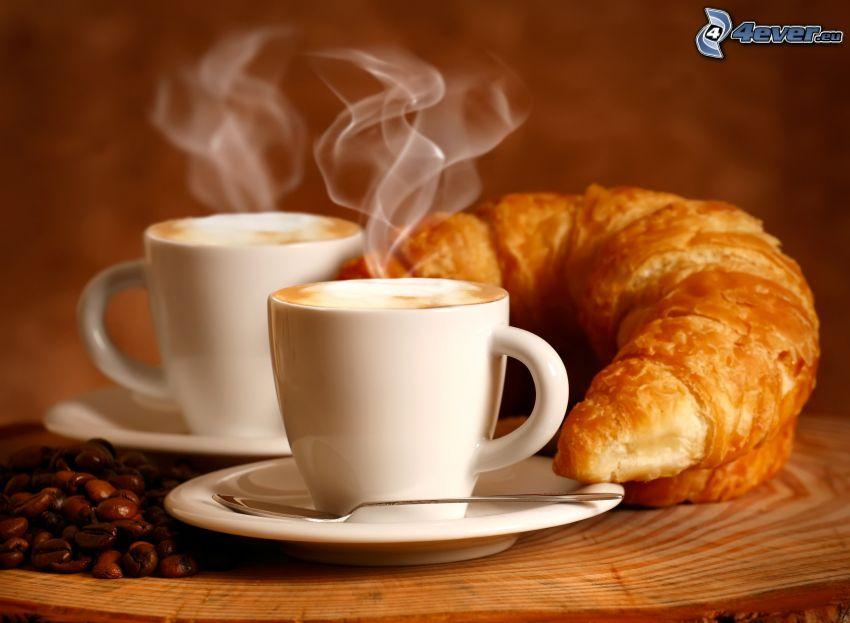desayuno, taza de café, croissant