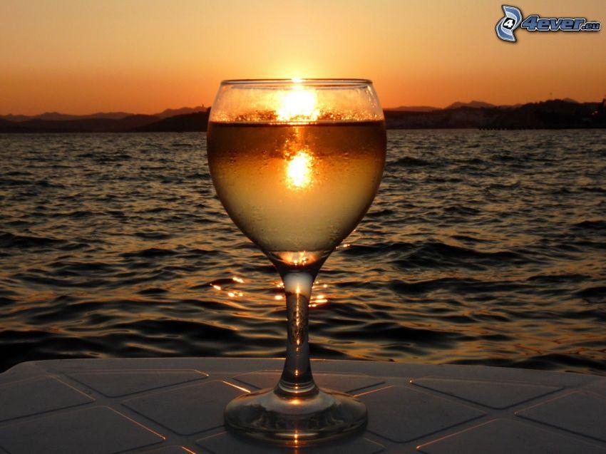 drink, puesta del sol, lago