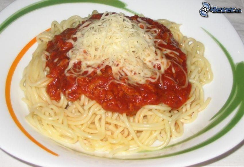 espagueti, salsa, queso