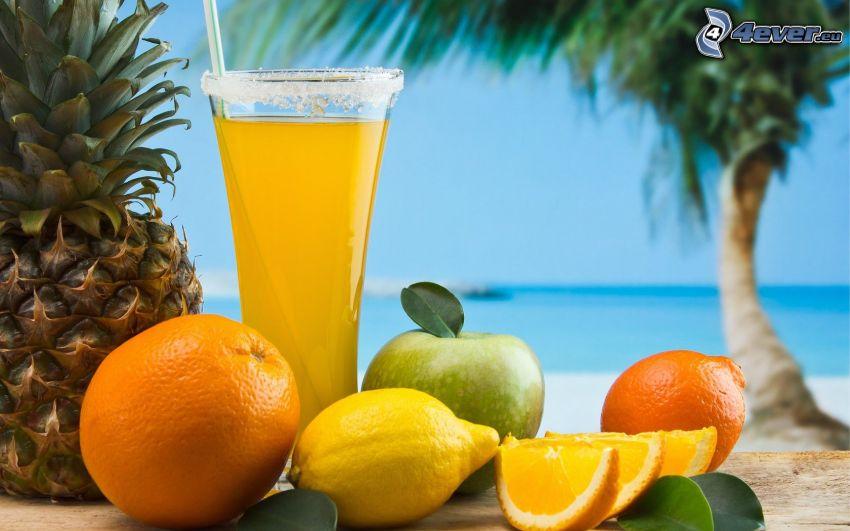 fruta, bebidas mezcladas