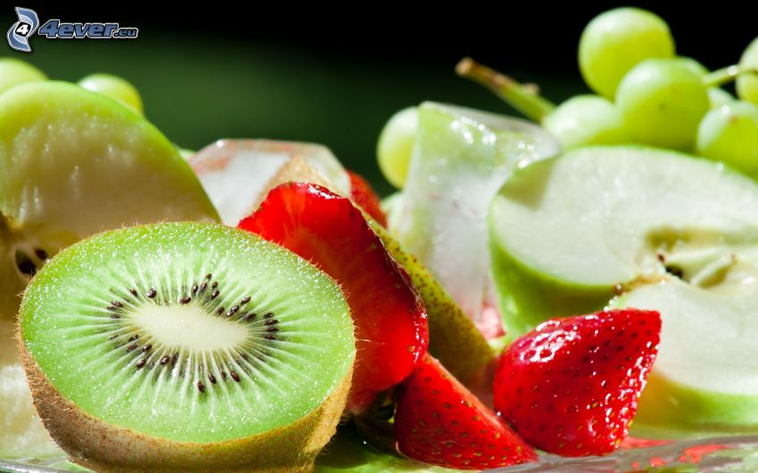 fruta, kiwi, fresas, manzana
