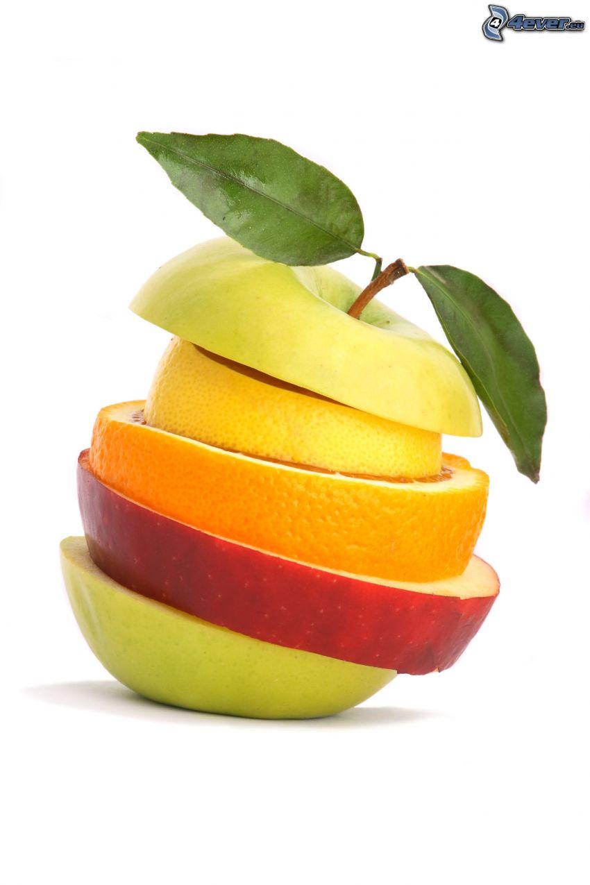 fruta, manzana, limón, naranja
