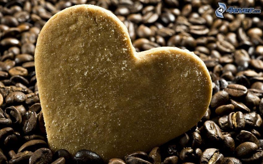 galleta, corazón, granos de café
