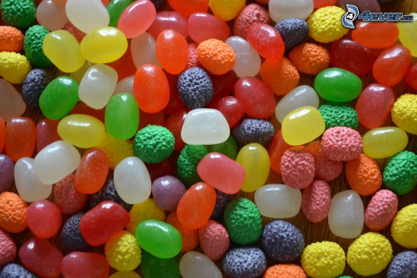 gelatina, caramelos