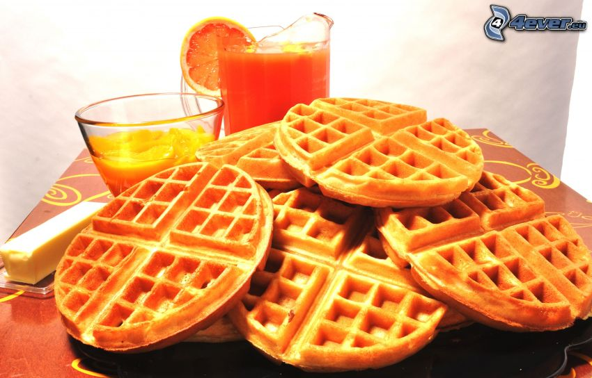 gofres, jugo de naranja