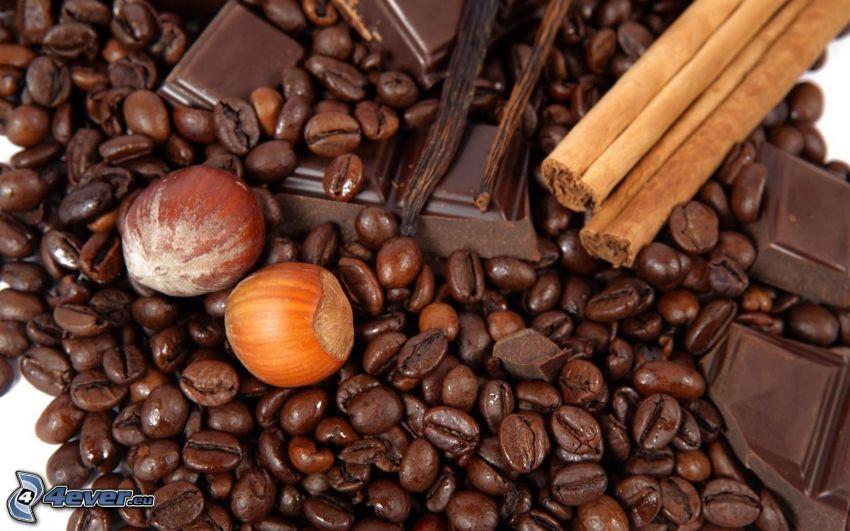 granos de café, avellanas, chocolate, canela