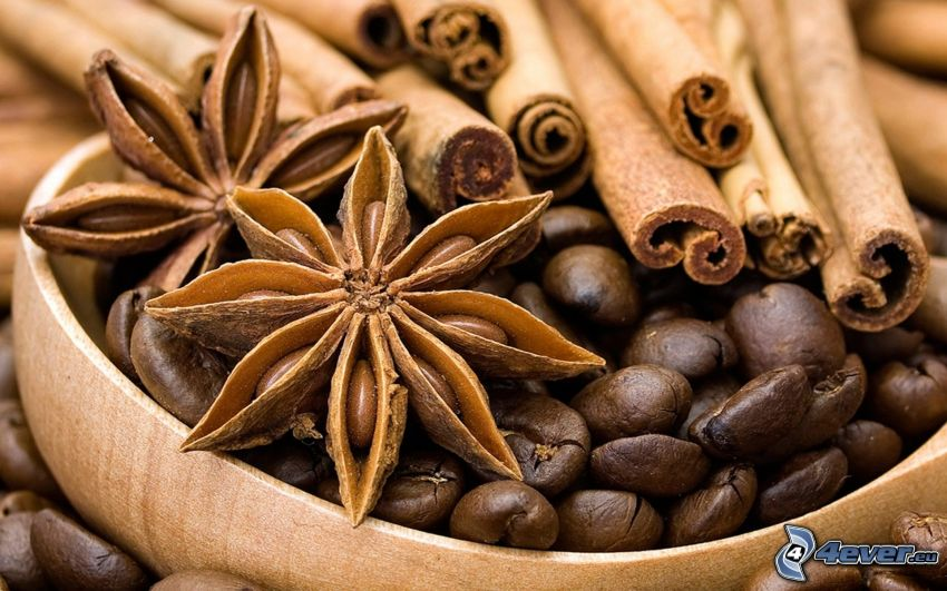 granos de café, canela