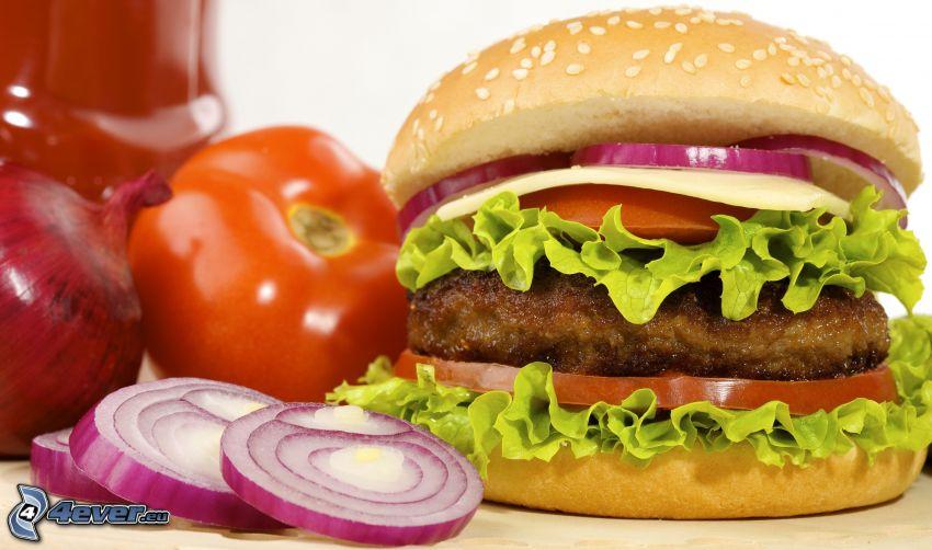 hamburger, cebolla