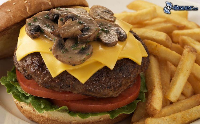 hamburguesa con patatas fritas, champiñones