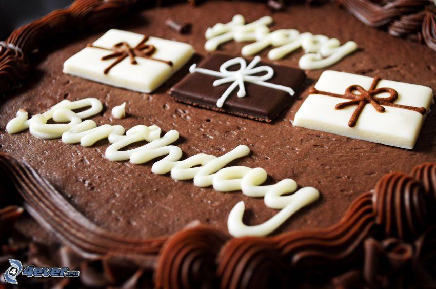 Happy Birthday, pastel de chocolate, chocolate blanco y negro