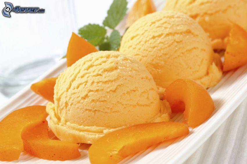 helado, melocotones