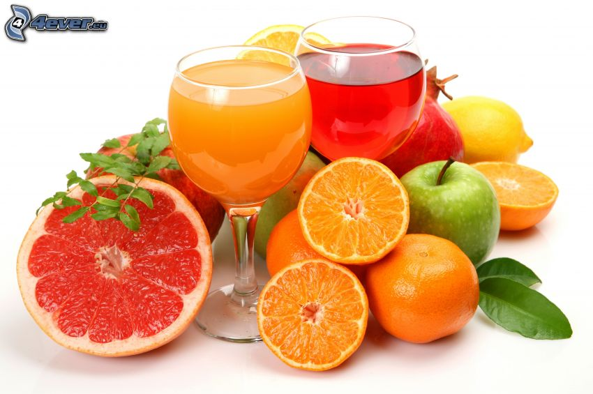 Jugos, copas, fruta, pomelo, naranjas, manzana, granada, limón