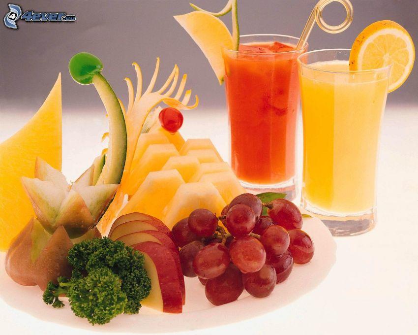 Jugos, fruta, uvas, melón, manzana