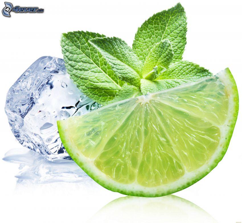 lima, hojas de menta, cubito de hielo
