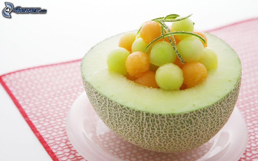 melón, uvas