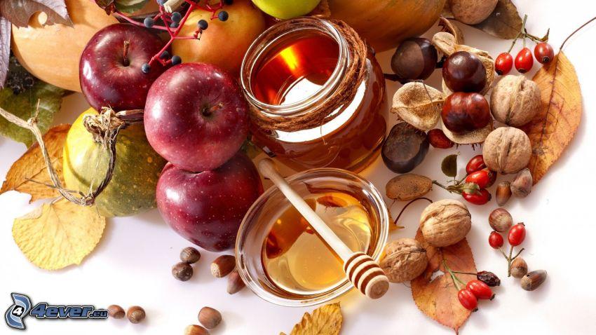 miel, manzanas, nueces, castañas