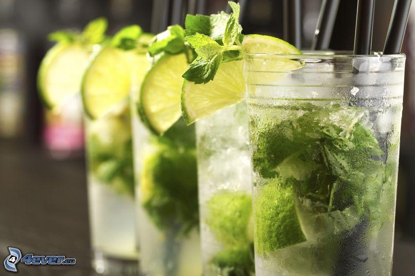 mojito, bebidas mezcladas, rodaja de limeta, hojas de menta