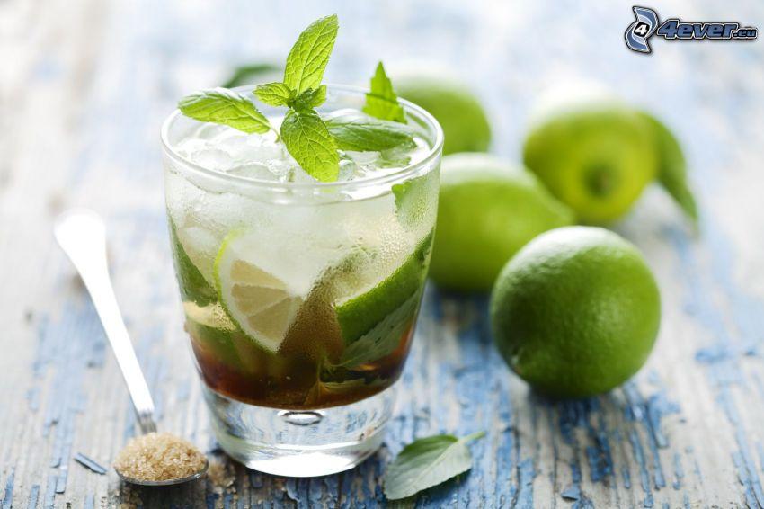 mojito, limero, hojas de menta, azúcar moreno integral