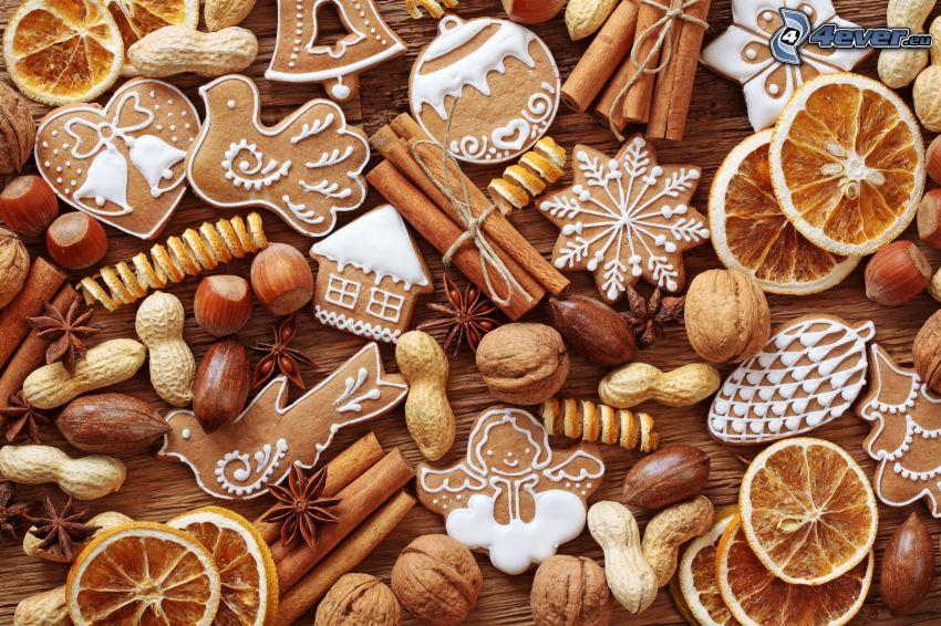 pan de jengibre, canela, naranjas secas, nueces