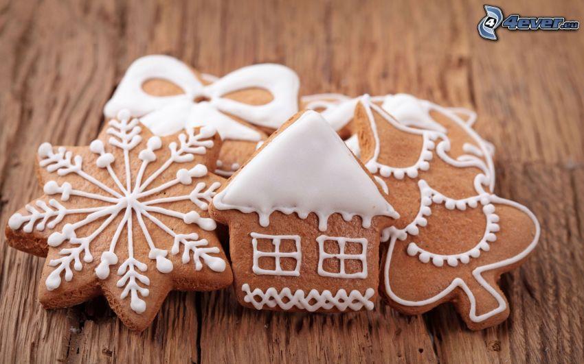 pan de jengibre, casa, copo de nieve, árbol de Navidad