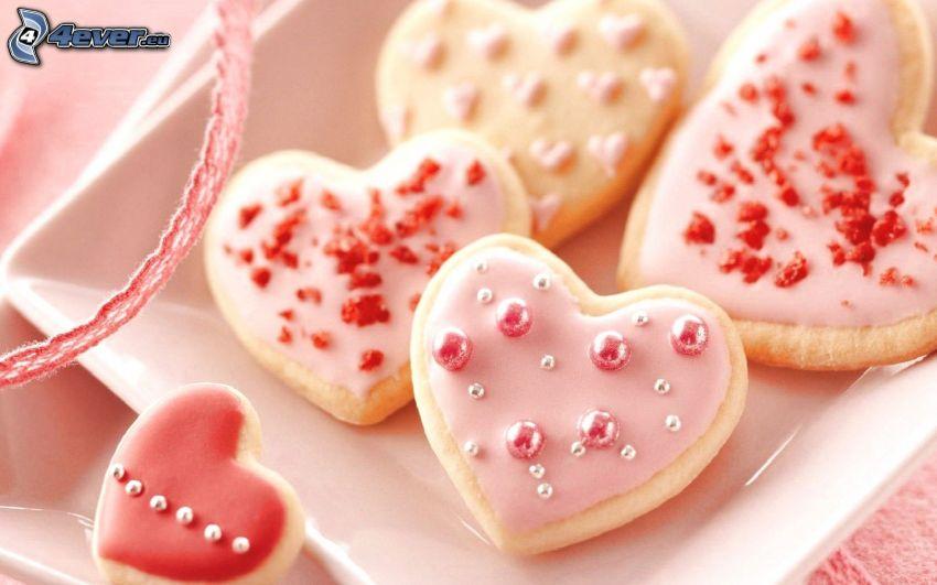 pan de jengibre, corazones rosados